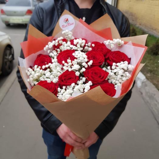 Букет из 11 роз с Гипсофилой: букеты цветов на заказ Flowwow