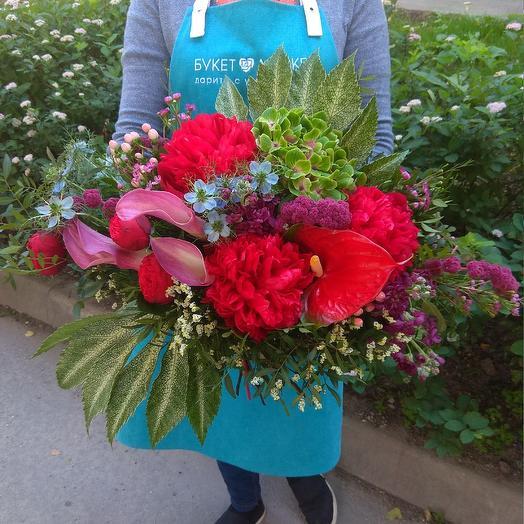 Большой букет из пионовидной, каждый и гортензий: букеты цветов на заказ Flowwow