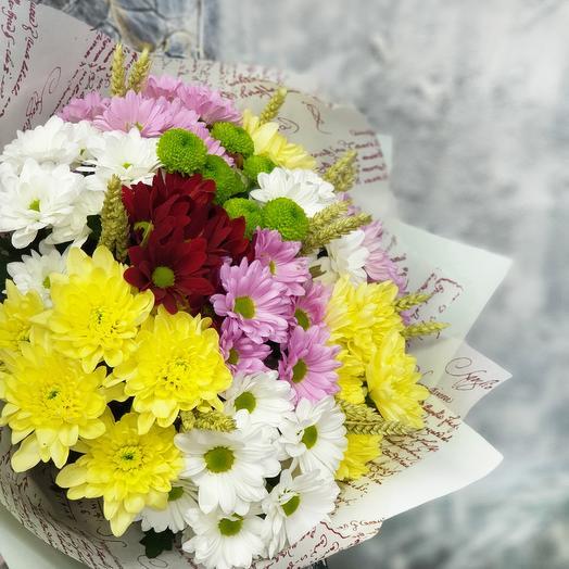 Яркий летний букет из хризантем: букеты цветов на заказ Flowwow