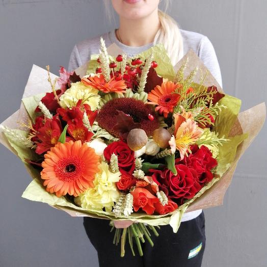 Букет из гербер, ягод и грибочков: букеты цветов на заказ Flowwow