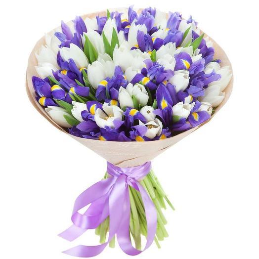 Микс Ирисы/Тюльпаны: букеты цветов на заказ Flowwow