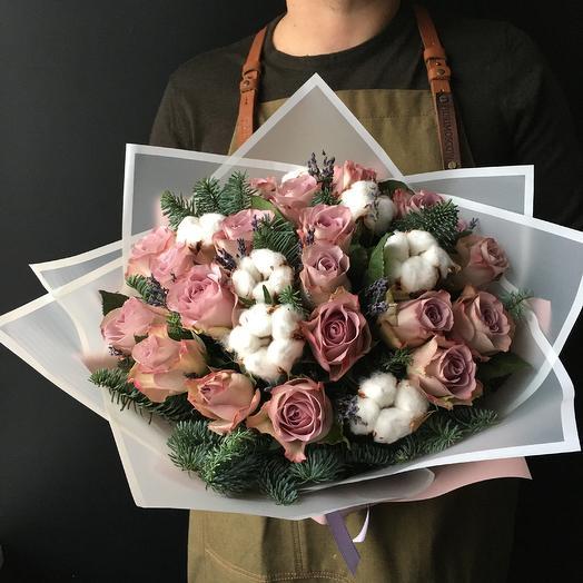 Зимнее настроение с хлопком: букеты цветов на заказ Flowwow