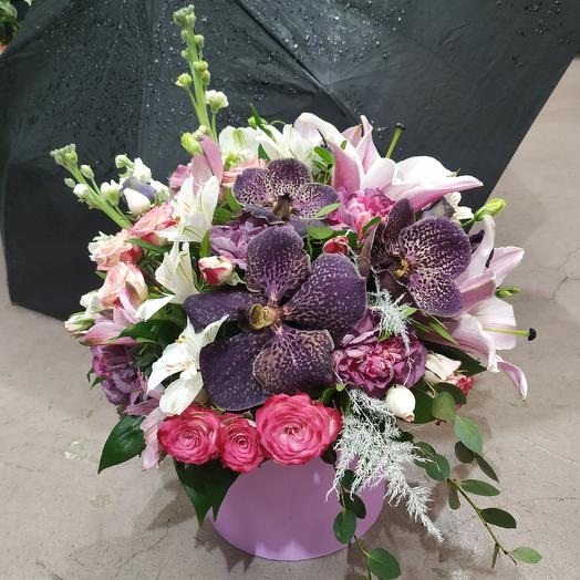 """Экстравагантная коробочка с орхидеей Вандой """"Моя тигрица""""🐯: букеты цветов на заказ Flowwow"""