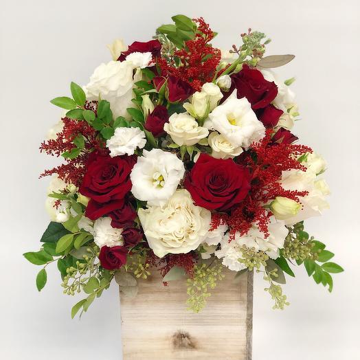 Tall Wood Box Arrangement 3: flowers to order Flowwow