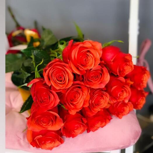 Монобукет 15 Оранжевых роз 70см