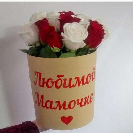21 роза в коробке с надписью