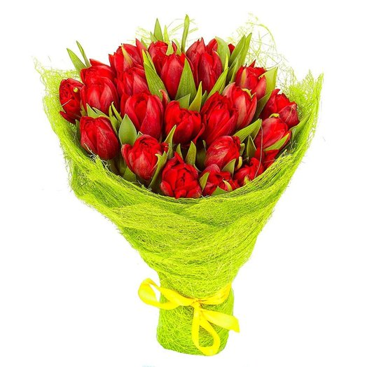 Букет из 25 тюльпанов Красные