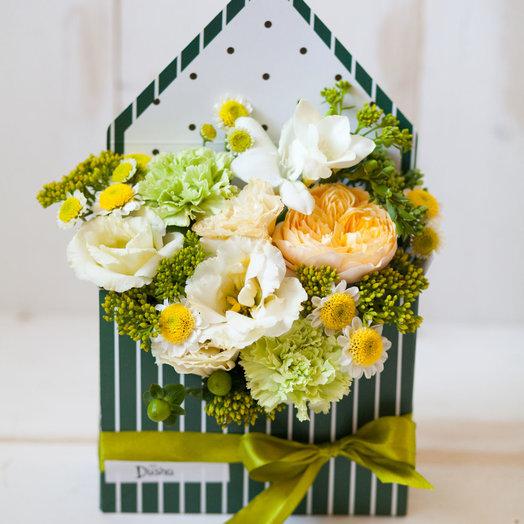 Цветочный конверт Сочный лайм: букеты цветов на заказ Flowwow
