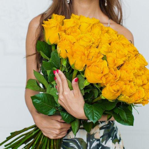 51 Желтая Эквадорская Роза 80см: букеты цветов на заказ Flowwow
