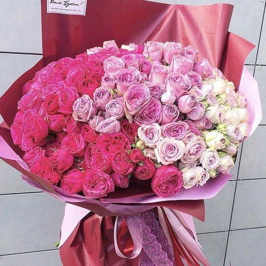 Букет градиентных роз «Сладких мармелад»
