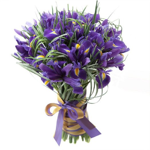 Букет из 25 Ирисов с берграссом: букеты цветов на заказ Flowwow