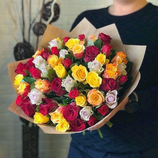 Букет масса разноцветных роз: букеты цветов на заказ Flowwow