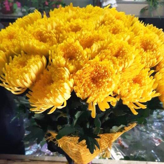 Букет из 21 желтой хризантемы одноголовой: букеты цветов на заказ Flowwow