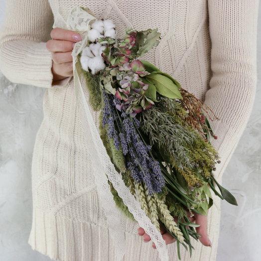 композиция из сухоцветов декоративная из пшеницы и хлопка