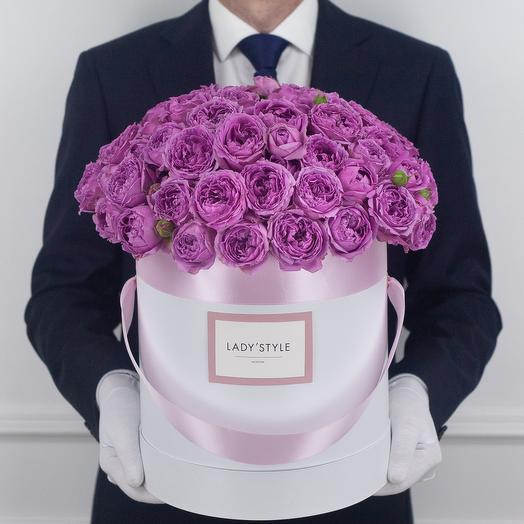 Кустовая роза Misty Bubbles в шляпной коробке L