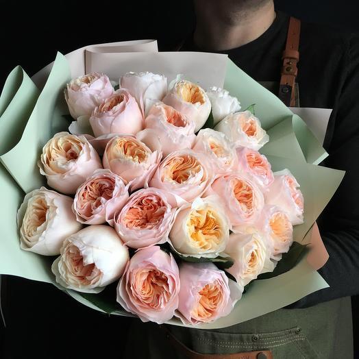 Персиковые пионовидные розы: букеты цветов на заказ Flowwow