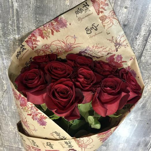 9 роз фридом в крафте: букеты цветов на заказ Flowwow