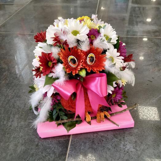 Мудрая сова 🦉 из живых цветов: букеты цветов на заказ Flowwow
