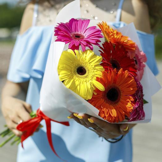 "Букет из ""7 гербер микс"": букеты цветов на заказ Flowwow"