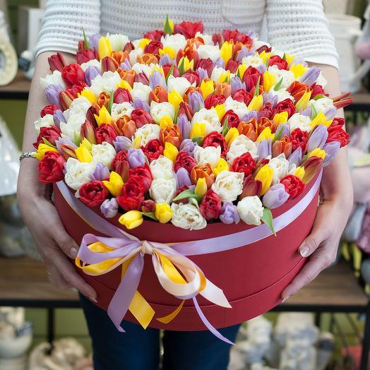 Шляпная коробка с тюльпанами (201 тюльпан)