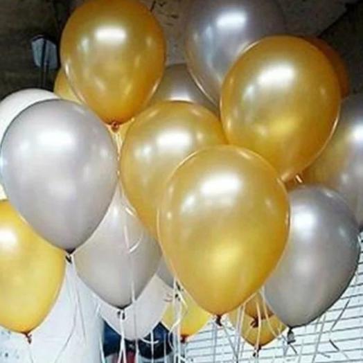 15 шаров серебро-золото
