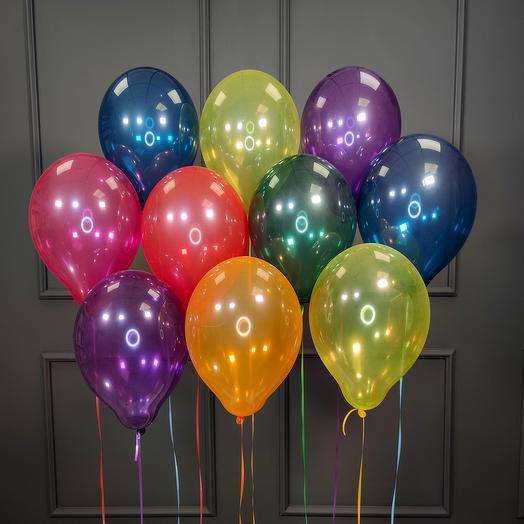 Воздушные разноцветные шарики кристалл 25 шт