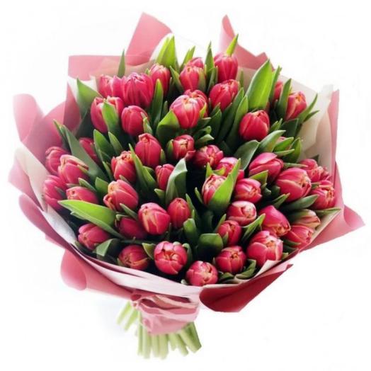 49 розовых пионовидных тюльпана