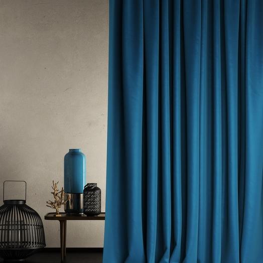 Негорючая портьера Бали Синий, 145х290 см - 1 шт
