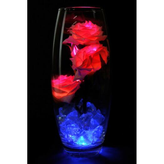 Светодиодные розы 5шт Нежно розовые (син)