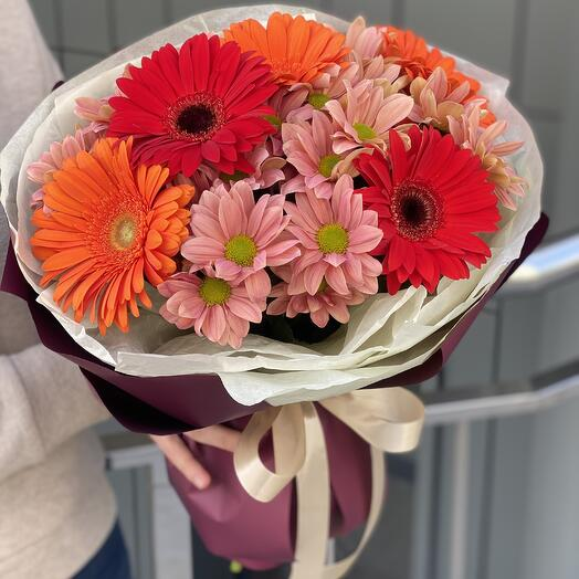 Colorful bouquet of gerberas and chrysanthemums