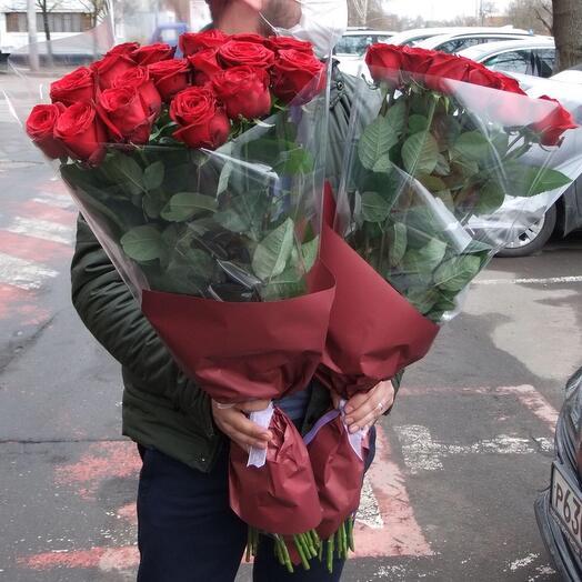 Букет из 15 высоких роз