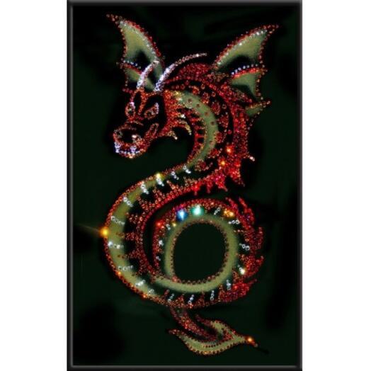 """Картина с кристаллами Swarovski """"Крылатый дракон"""""""