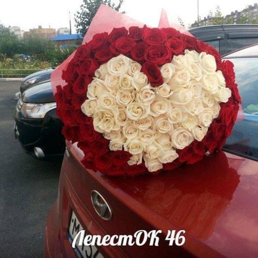 Элитное сердце101 роза: букеты цветов на заказ Flowwow