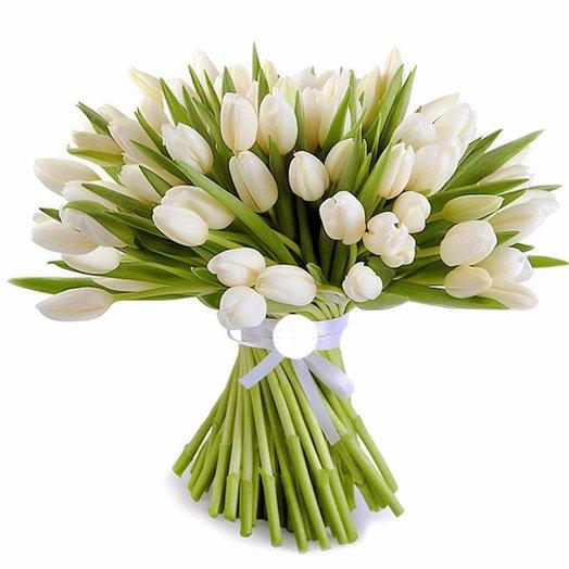 101 белый тюльпан: букеты цветов на заказ Flowwow