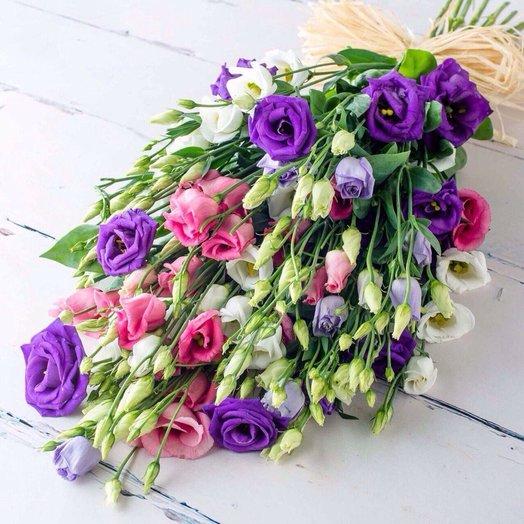 Букет из эустомы (микс), 15 шт: букеты цветов на заказ Flowwow