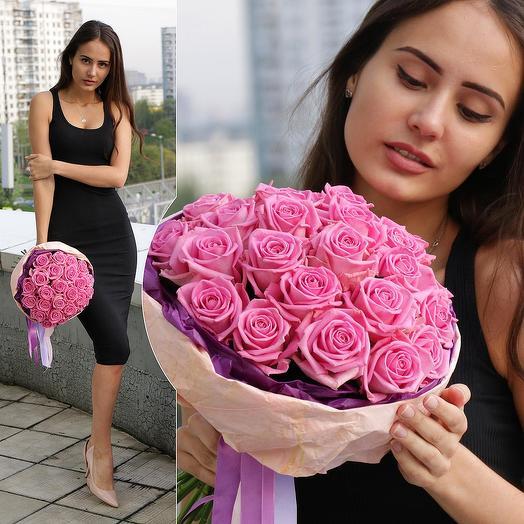 БУКЕТ ИЗ 25 РОЗОВЫХ РОЗ АКВА: букеты цветов на заказ Flowwow