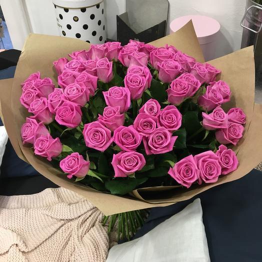 Большой букет розовых  роз: букеты цветов на заказ Flowwow