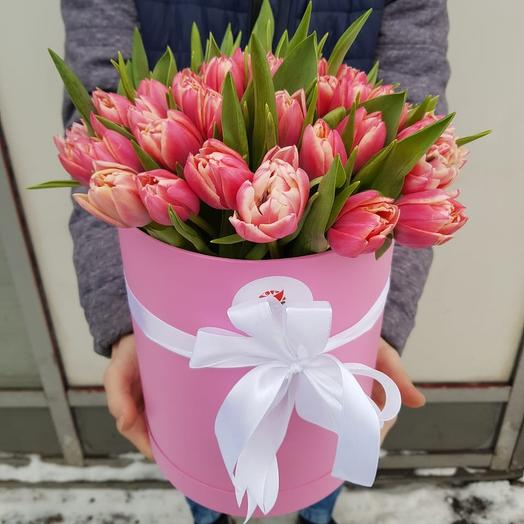 Коробка из 49 розовых тюльпанов: букеты цветов на заказ Flowwow