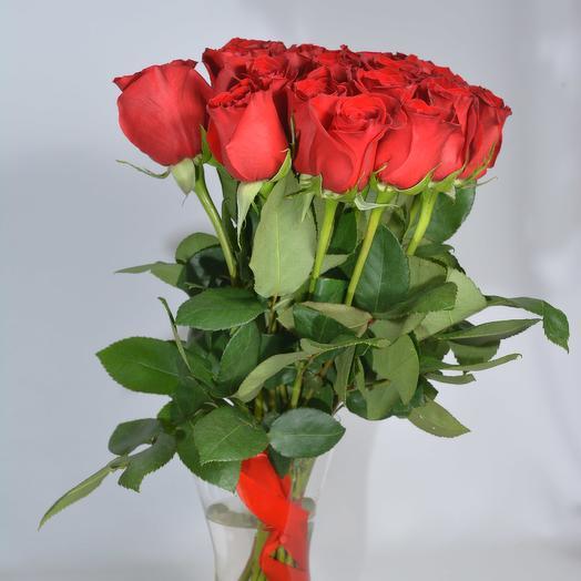 25 красных роз 40 см в букете: букеты цветов на заказ Flowwow
