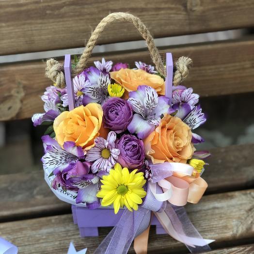 Ящик малый «Летний микс»: букеты цветов на заказ Flowwow