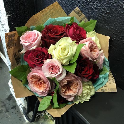 Микс из роз Парижский закат: букеты цветов на заказ Flowwow