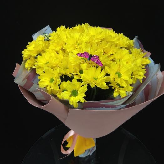 Букет из желтых Хризантем: букеты цветов на заказ Flowwow