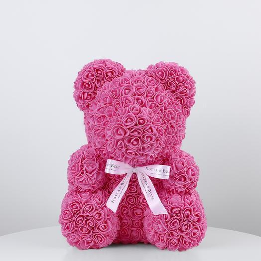 Мишка из роз 35 см розовый: букеты цветов на заказ Flowwow