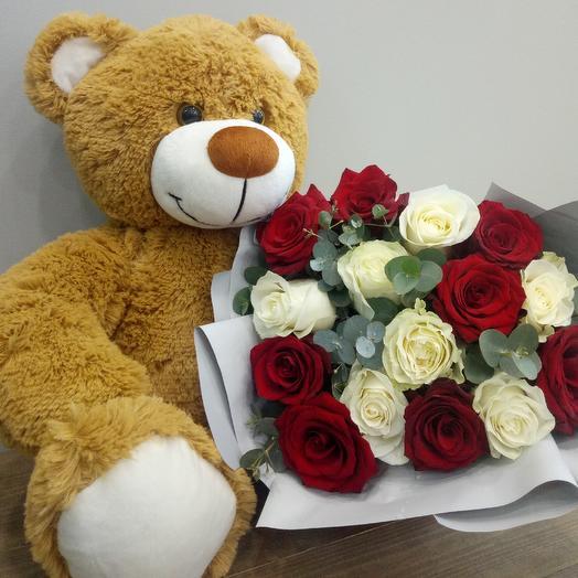 Мишка плюшевый большой: букеты цветов на заказ Flowwow
