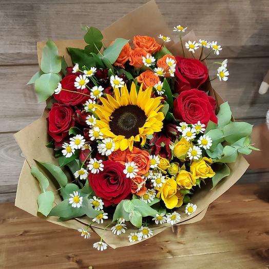 Букет летний с ромашкой и подсолнухом: букеты цветов на заказ Flowwow