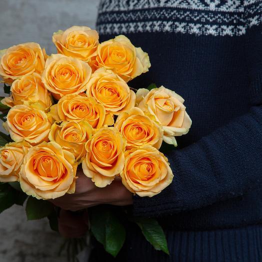 Букет из 15 кремовых роз: букеты цветов на заказ Flowwow