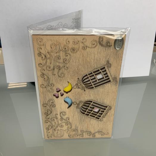 Открытка деревянная