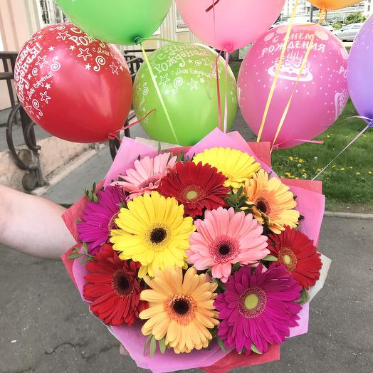 Bouquet of gerberas and balloons
