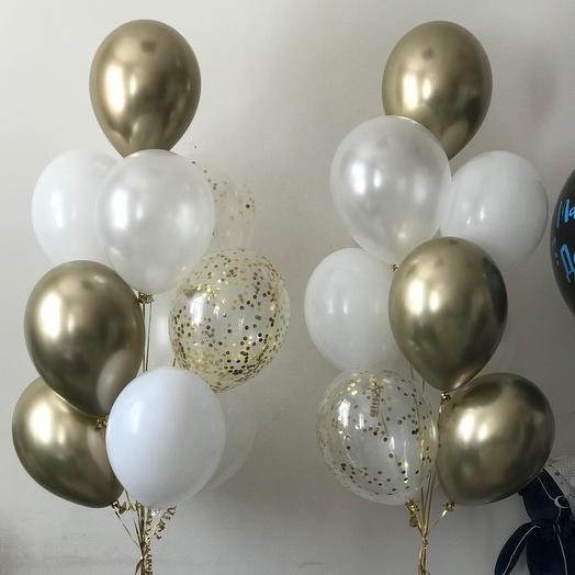 1 связка (9 шаров) - хром, конфетти, белые, перламутровые шары