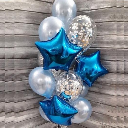 Композиция из шаров с синими звездами